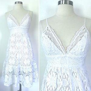 Milly of New York white lace crocheted sun dress